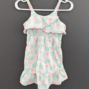 Grey flamingo print summer dress size 12-18 months